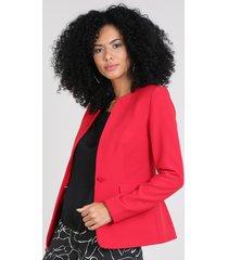 blazer feminino com bolsos vermelho