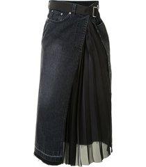sacai asymmetric denim midi skirt - black