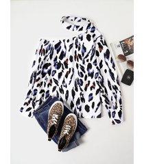 blusa de manga larga con botones de leopardo blanco diseño halter