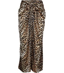 silk stretch satin skirt lange rok bruin ganni