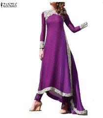 zanzea moda mujer boho maxi vestido de fiesta encaje crochet primavera manga larga vintage dobladillo irregular playa vestidos largos vestidos -púrpura