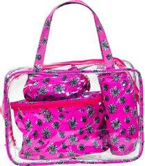 kit necessaire média real arte floral rosa