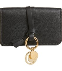 women's chloe alphabet leather foldover card case -