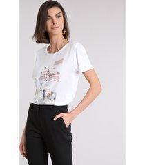 blusa feminina acetinada com estampa de folhagem manga curta decote redondo off white
