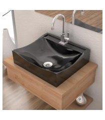 cuba de apoio para banheiro compace lunna q44w retangular preta