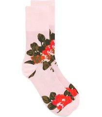 women's simone rocha rose jacquard ankle socks, size medium/large - pink