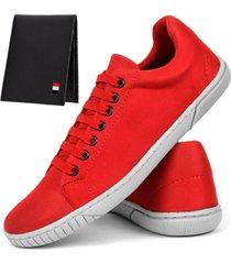 kit sapatãªnis masculino mb outlet casual esporte fino com carteira vermelho - vermelho - masculino - lona - dafiti