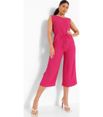 baggy culotte jumpsuit met touwtjes, hot pink