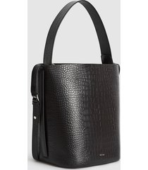 reiss hudson croc - leather embossed croc bucket bag in black, womens