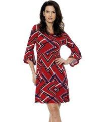 vestido bisô manga flare étnico