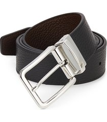 saks fifth avenue made in italy men's reversible pebbled leather belt - black brown - size 42