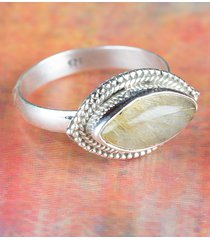 charming 925 golden rutile gemstone sterling silver ring all size bjr-408-gr