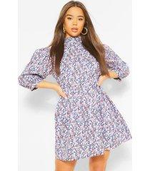 bloemenprint mini jurk met hoge hals, meerdere