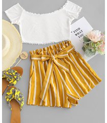 contrast off shoulder top and stripes shorts set