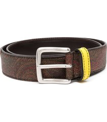 etro paisley-print panelled belt - brown