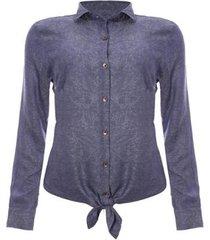 camisa aleatory manga longa blue jeans feminina