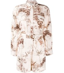 sandro paris jaine belted shirt playsuit - neutrals