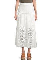 bcbgmaxazria women's eyelet tiered skirt - off white - size 10