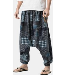 harem pantaloni ampi in cotone con stampa patchwork