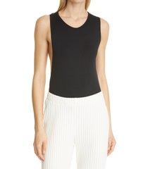 simon miller mogen back cutout bodysuit, size medium in black at nordstrom