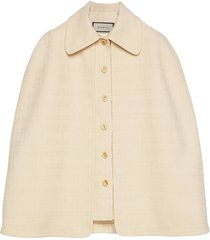 gucci detachable cape tweed vest - white