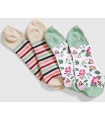 lane bryant women's 2-pack no-show socks - stripes & flowers onesz utility green