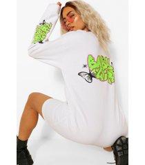 graffiti 'babygirl' gebleekte sweatshirt jurk, wit