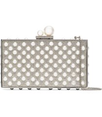 sophia webster clara crystal faux pearl-embellished clutch - white