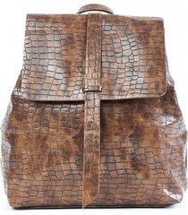 mochila croco marrón humana
