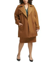 calvin klein plus size faux-suede trench coat