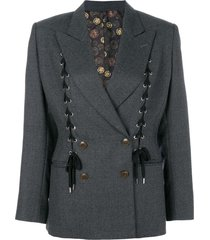 jean paul gaultier pre-owned lace-up double-breasted jacket - grey
