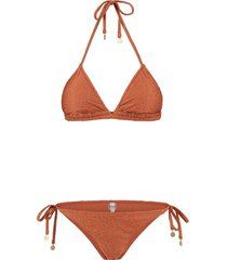 ladies textured leopard triangle bikini