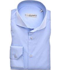 ledub overhemd blauw modern fit stretch