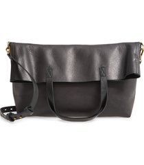 madewell the foldover transport tote - black