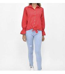 blusa manga larga de anudar