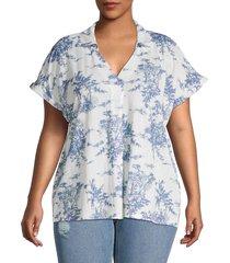 b collection by bobeau women's plus floral v-neck blouse - toile print - size 1x (14-16)