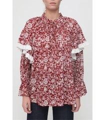 camicetta stampata con maniche con volant