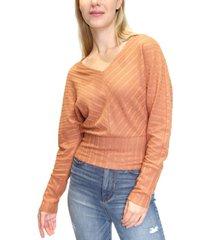 crave fame juniors' pointelle-knit dolman-sleeve criss-cross back top