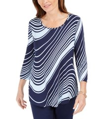 jm collection swirl-print 3/4-sleeve t-shirt, created for macy's