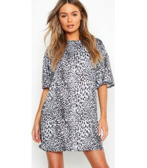 oversized luipaardprint t-shirtjurk, grijs