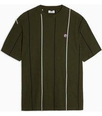 mens khaki stripe pique organic cotton t-shirt