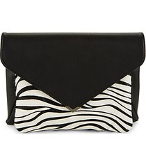 mila suede & zebra calf hair envelope clutch