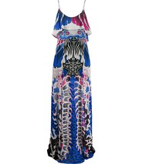 just cavalli all-over print dress - blue