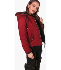 hooded padded jacket, wine