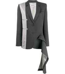 monse asymmetrical double-pocket draped blazer - grey