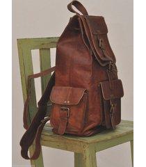 womens brown leather travel backpack rucksack school laptop satchel shoulder bag