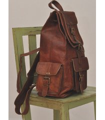 womens brown leather travel backpack rucksack school laptop satchel shoulder bag
