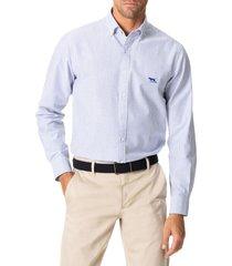 men's rodd & gunn south island stripe button-down shirt, size xxx-large - blue