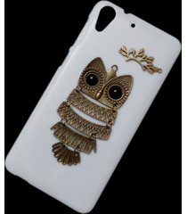cute retro metal bronze owl branch hard back skin case cover for htc desire 728