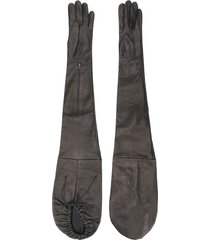 manokhi long leather gloves - brown